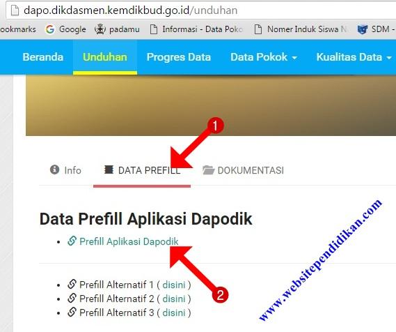Cara Download/Generate Prefill Dapodik Versi 2018b SD/SMP/SLB/SMA/SMK