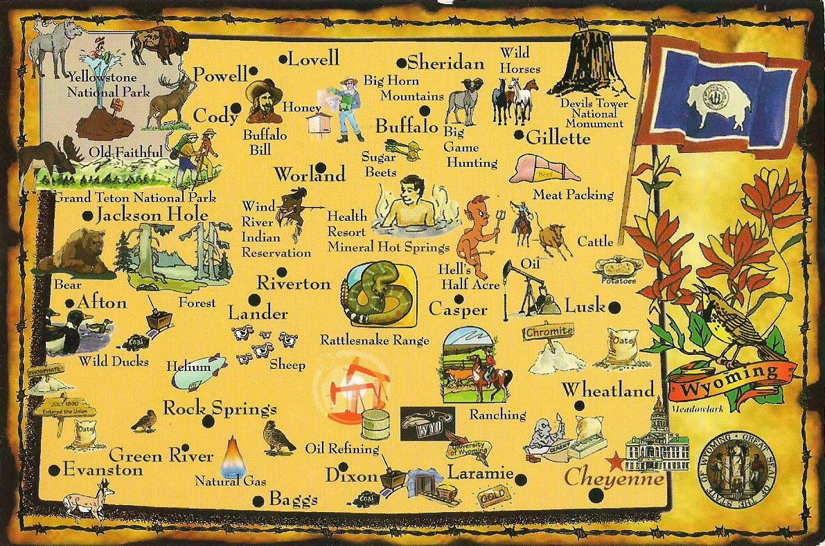 More POSTCARDS STAMPS USA Map Wyoming
