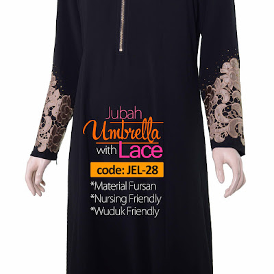 Jubah Umbrella Lace JEL-28 Black Tangan 4