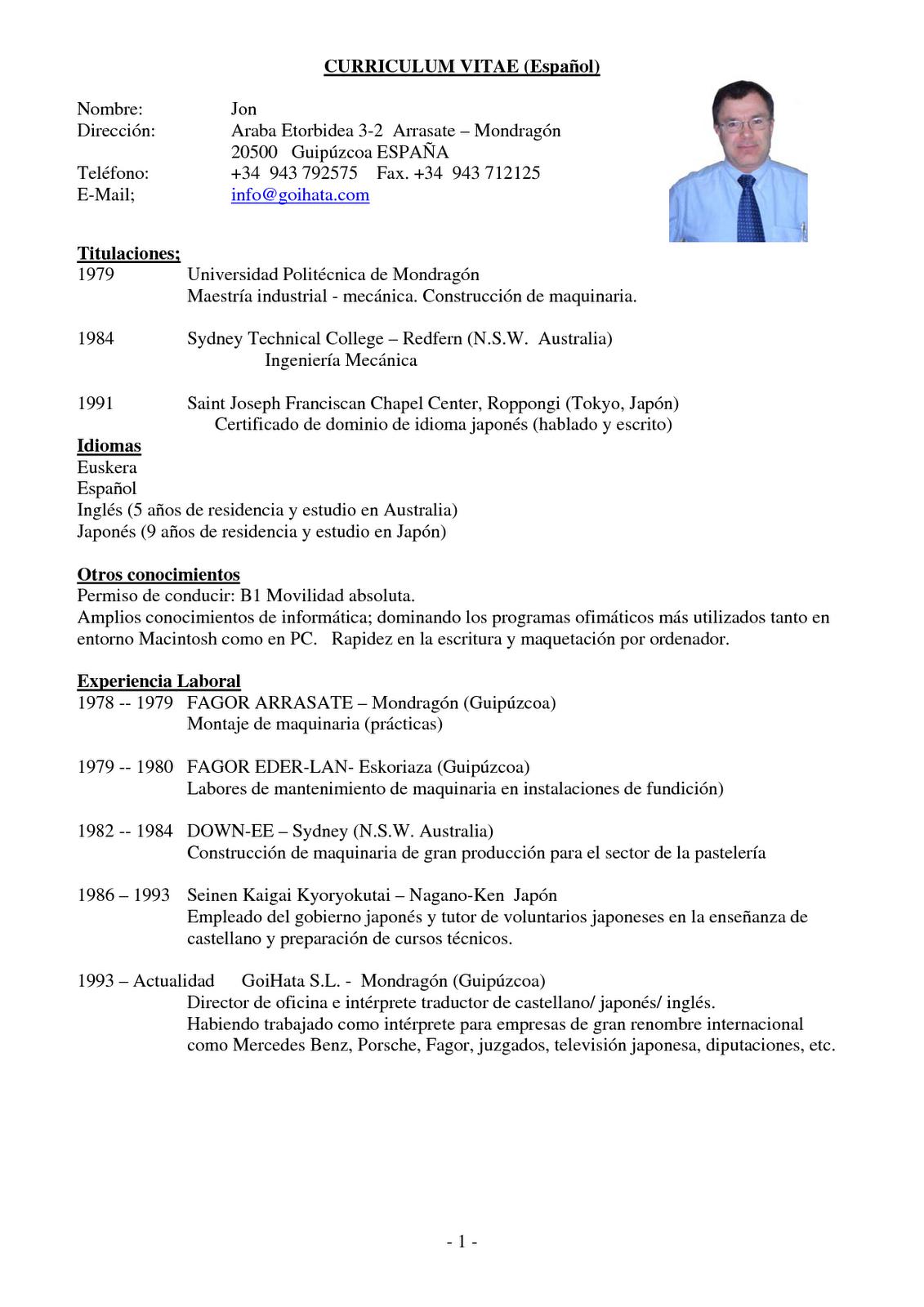 modelo de curriculum vitae medico
