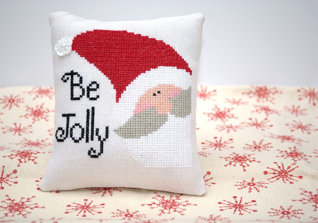 Be Jolly, Just Cross Stitch, Mini cross stitch finish, Christmas, Mini Cushion Finish, Stitching, Handmade