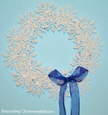 Dollar Tree Snowflake Wreath With Blue Bow