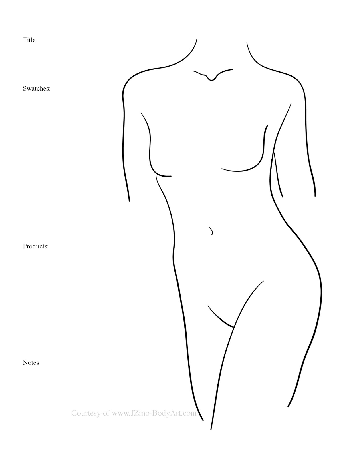 FREE Female Form Body Painting Templates