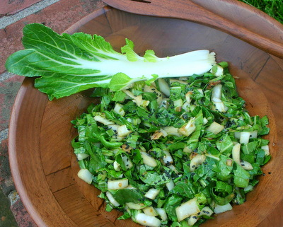 Bok Choy Salad with Chinese Salad Dressing, another year-round salad ♥ AVeggieVenture.com. Vegan. Gluten Free. Easy Base for a Supper Salad.