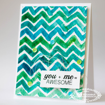 handmade card with watercolor chevron background with jane's doodles stamps. Practice card for online card classes
