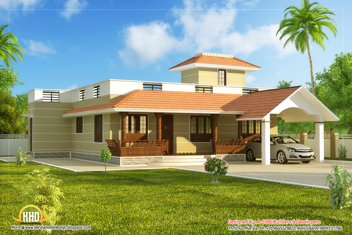 Beautiful single story kerala model house 1395 sq ft for Single story house plans with front porch