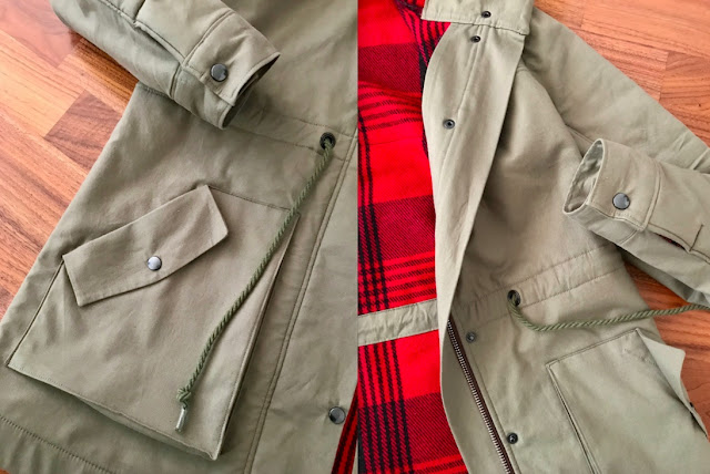Diary of a Chain Stitcher: Closet Case Patterns Kelly Anorak in Army Green Cotton Twill from Mood Fabrics with Red Plaid Wool Flannel Underlining