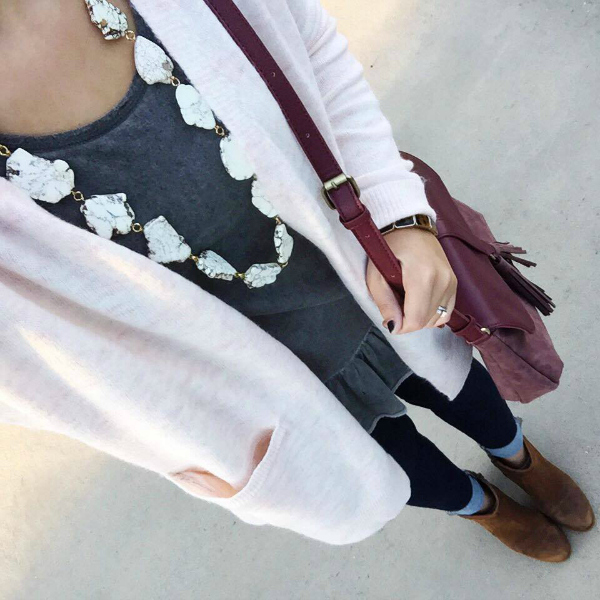 pink cardigan, stone necklace, how to style ankle boots