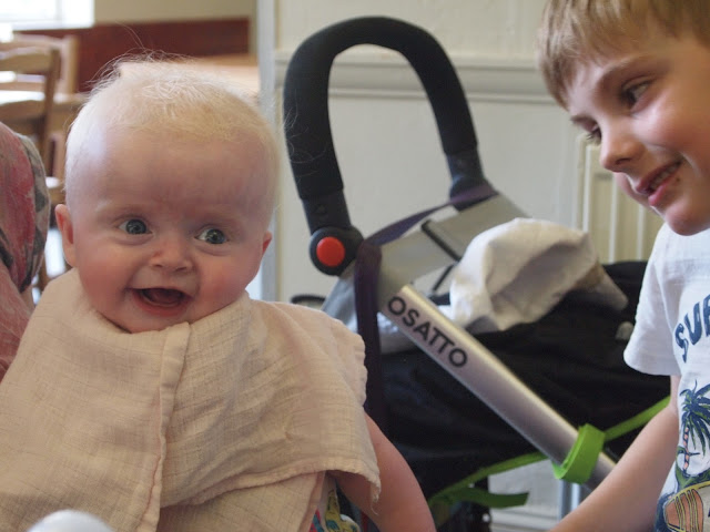 Baby Elsie with her cousin Bert at lunch time, Godstone Farm, Surrey Review - Food & Drink