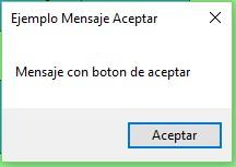 MessageBox con Botón de Aceptar