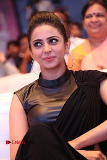 Actress Rakul Preet Singh Stills in Black Saree at Rayudu Movie Audio Launch  0158