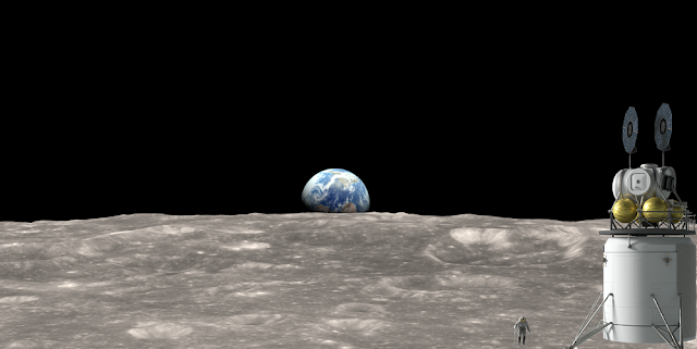 Artist's concept of Human Landing System on the lunar surface with astronaut nearby. Credits: NASA