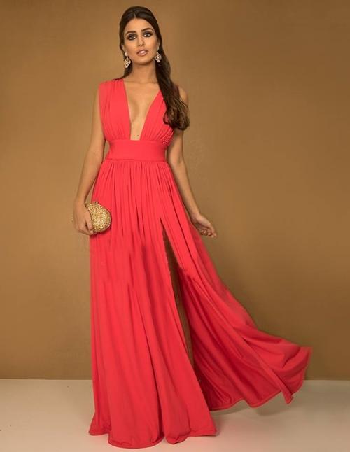 vestido esvoaçante longo