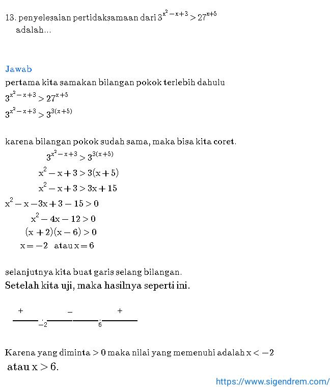 Contoh soal persamaan dan pertidaksamaan eksponen
