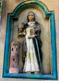 Św. Barbara, ludwa płaskorzeźba, Kornatka koło Dobczyc.