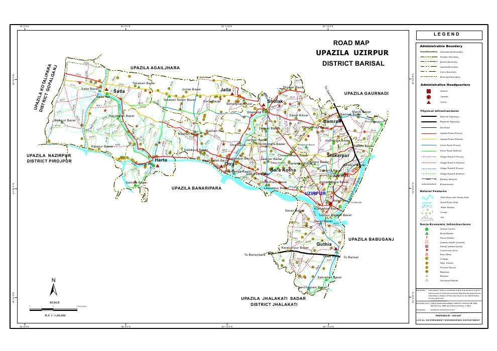 Wazirpur Upazila Road Map Barisal District Bangladesh