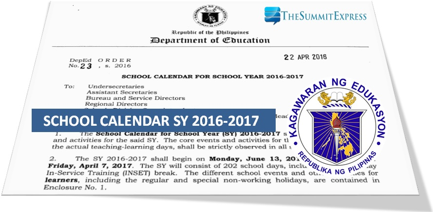 DepEd school calendar for SY 2016-2017; classes to start June 13
