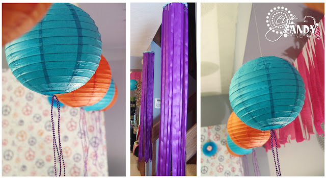 party decor, paper lanterns, ribbon chandeliers, peace party decor