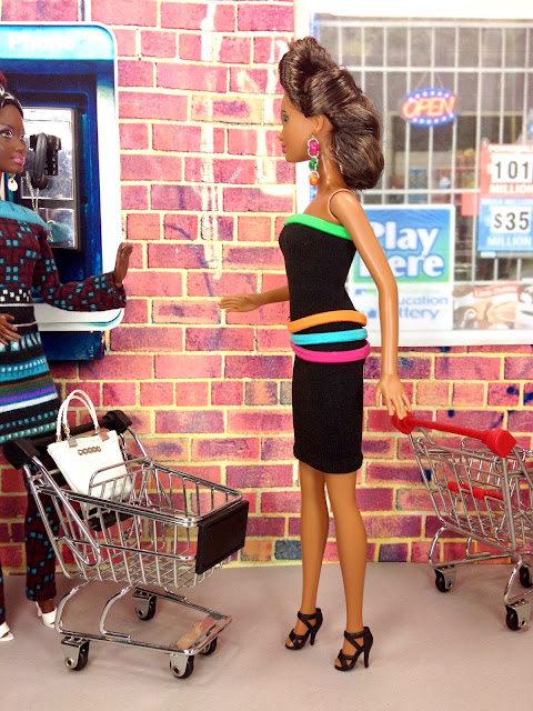 Doll Talk at the grocery store.  I wish this store had bigger carts!