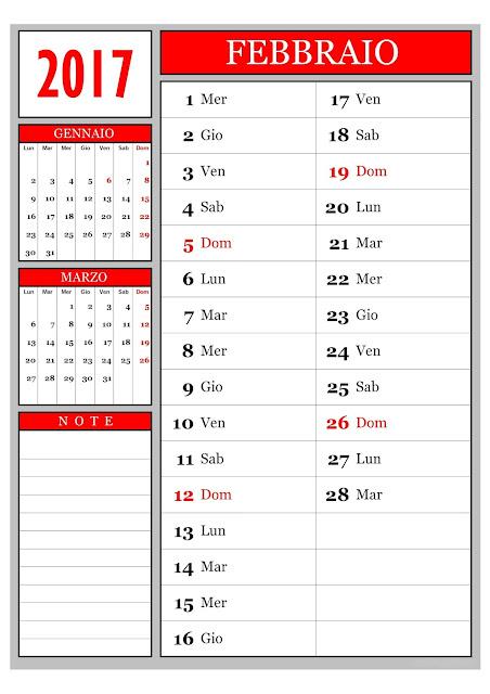 Calendario mensile - Febbraio 2017