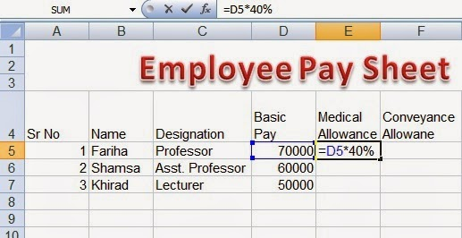 Employee Pay sheet Formulas in Microsoft Excel ~ Perfect Computer Notes