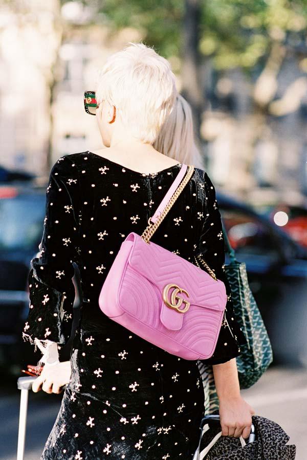 ffdc1503ec56 ... after Rochas, Paris, October 2016. Oh that flamingo pink bag!!!  Recreate Julia's look (kind of): Gucci GG Marmont matelasse mini bag