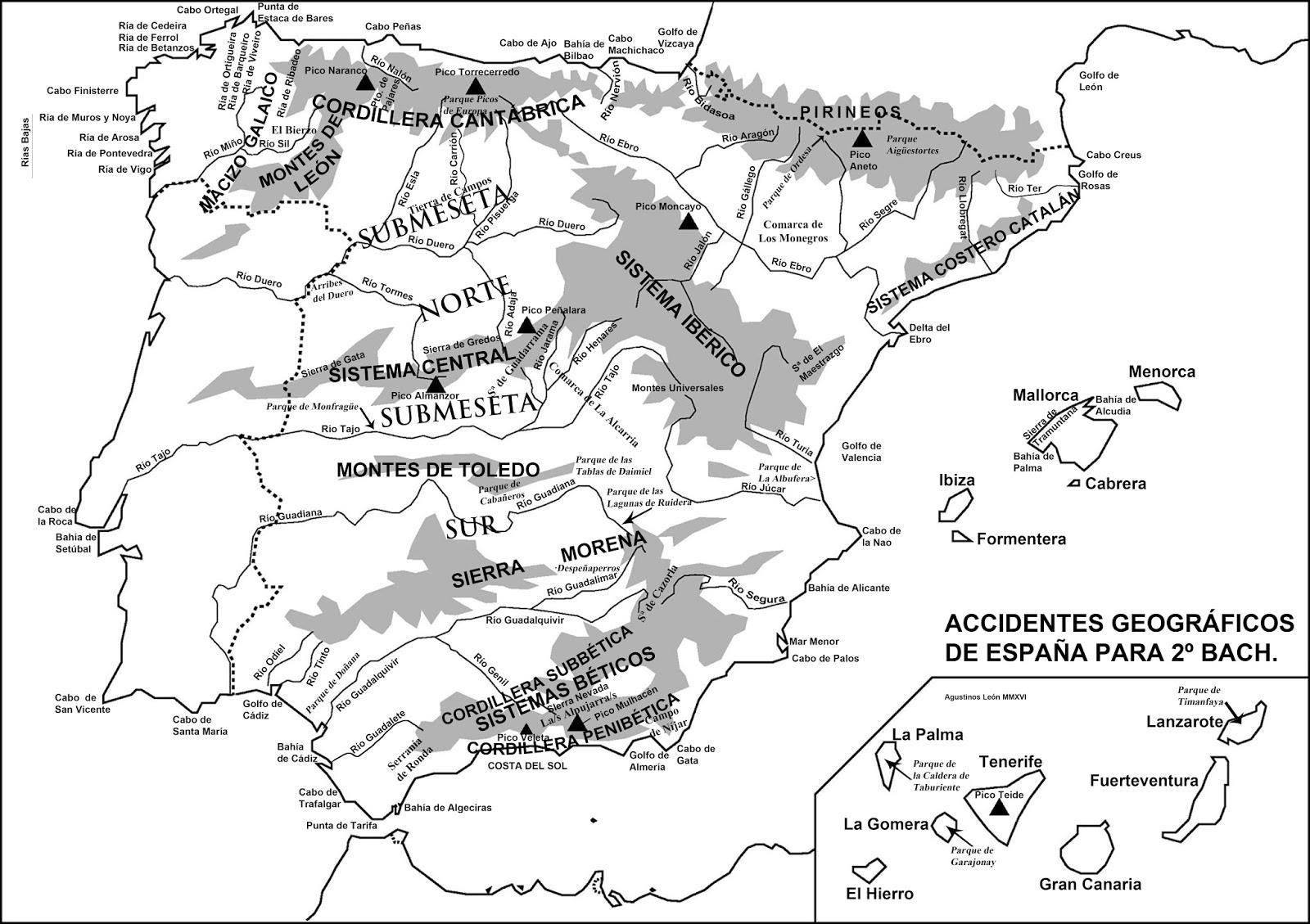 Gejuliografia Mapa fsico de la pennsula ibrica