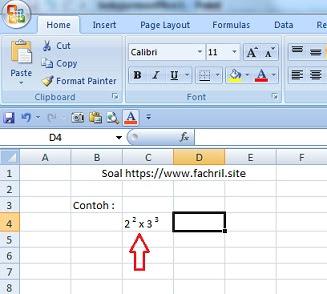 Cara Menulis Pangkat di Ms Excel