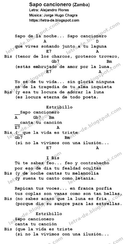 Letras y acordes de la zamba Sapo cancionero
