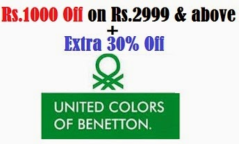 United Benetton Clothing: Get Rs.1000 Off on Cart Value of Rs.2999 or above + Extra 30% Off @ Myntra