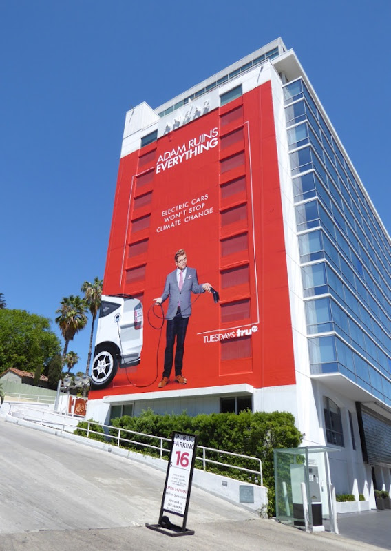 Giant Adam Ruins Everything Electric cars billboard