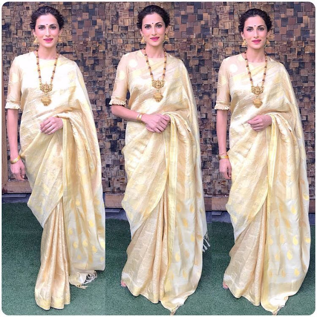 Shilpa Reddy Off White Silk Saree