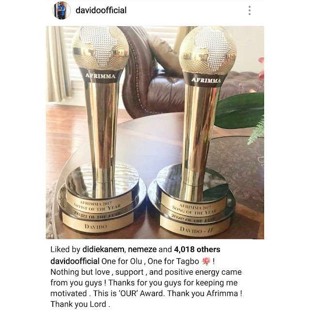 """One-for-Olu,-One-for-Tagbo"" – Davido-dedicates-AFRIMMA-prize-to-his-late-Friends"