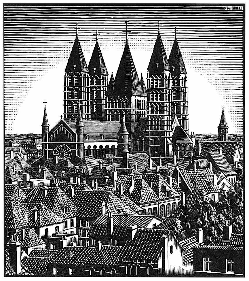 MC Escher, a town's rooftops and church, Amsterdam