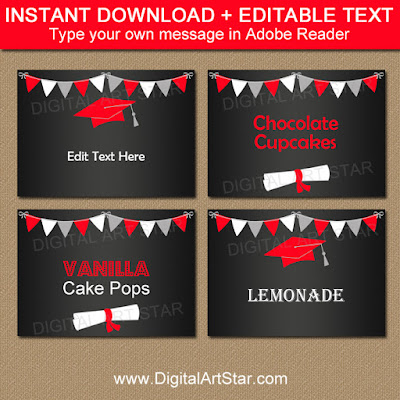printable chalkboard graduation candy buffet labels
