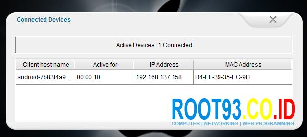 melihat client yang terhubung ke jaringan modem