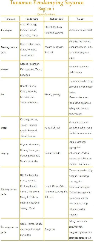 Daftar Tanaman Pendamping untuk Sayuran bag.1