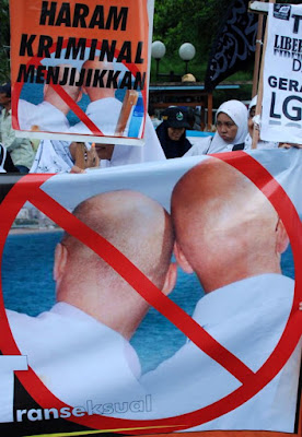 Aceh, the only region of the Muslim-majority country where Shariah law is in effect and gay sex is illegal.