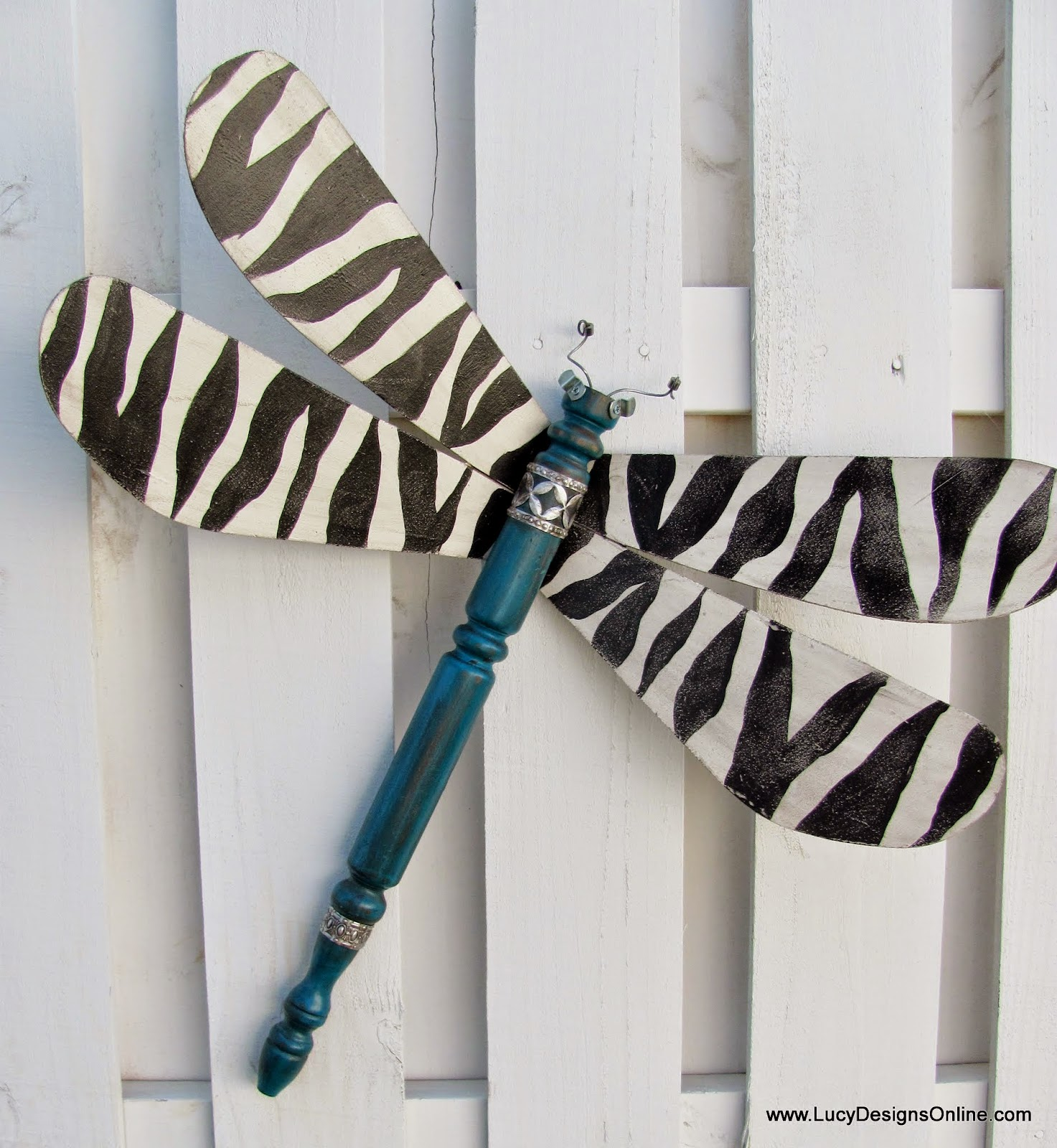 spindle zebra dragonfly recycled art