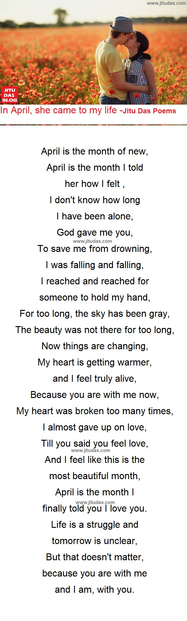 April, She came to my life romantic poem by Jitu Das poems 2018