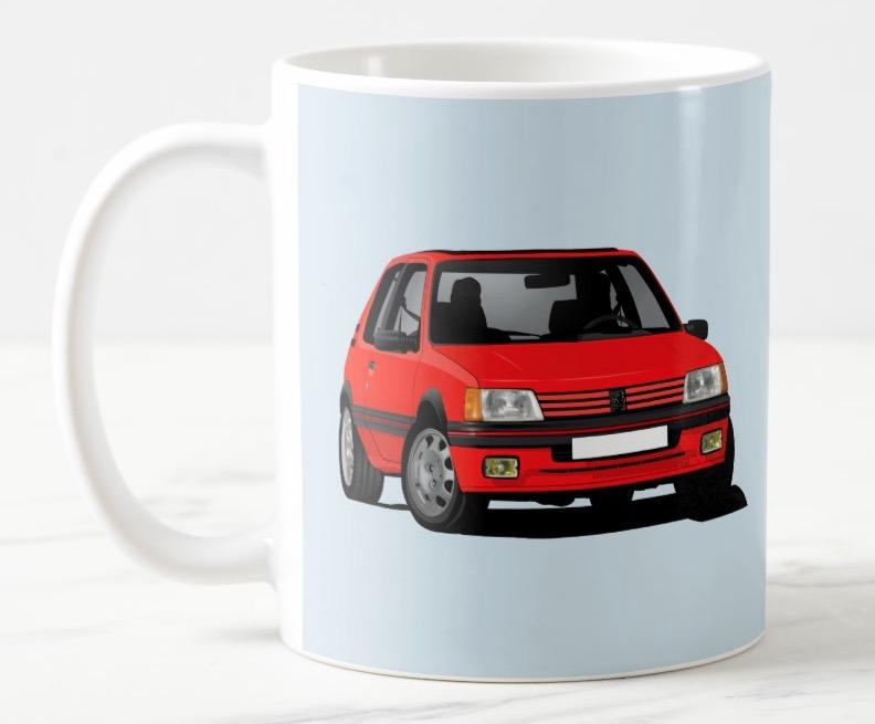 Great Peugeot 205 GTi in red - coffee mug