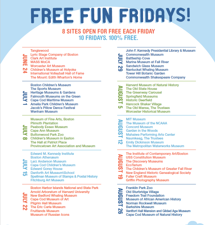 Free Fun Fridays - Massachusetts - Free Event List