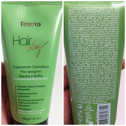 Creme Pós Lavagem Maciez e Brilho Hair Dry Amend