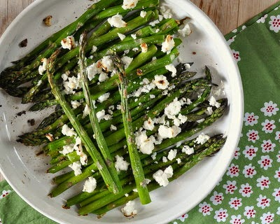 Roasted Asparagus with Feta, roasted without oil, just salt and high heat, topped with feta ~ low-carb, Weight Watchers PointsPlus 3 ~ AVeggieVenture.com