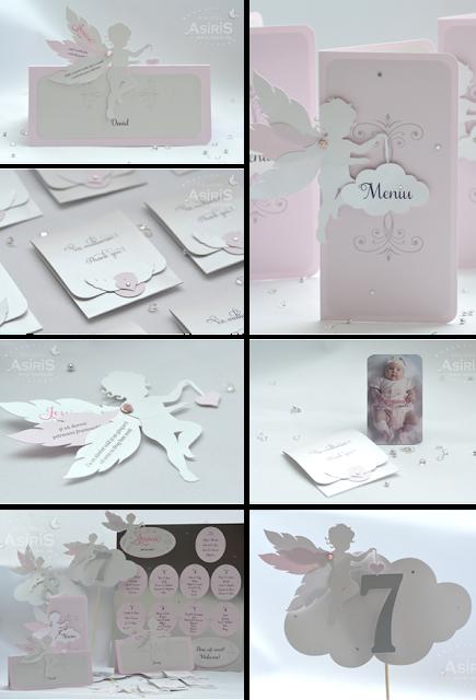 Set papetarie botez tematic Ingeras roz cu aripi mobile