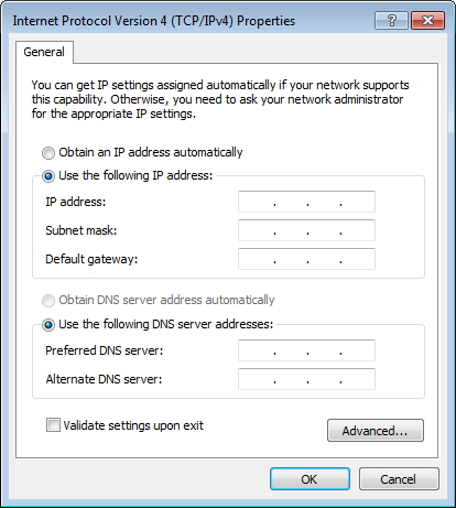 setting ip address wireless manual