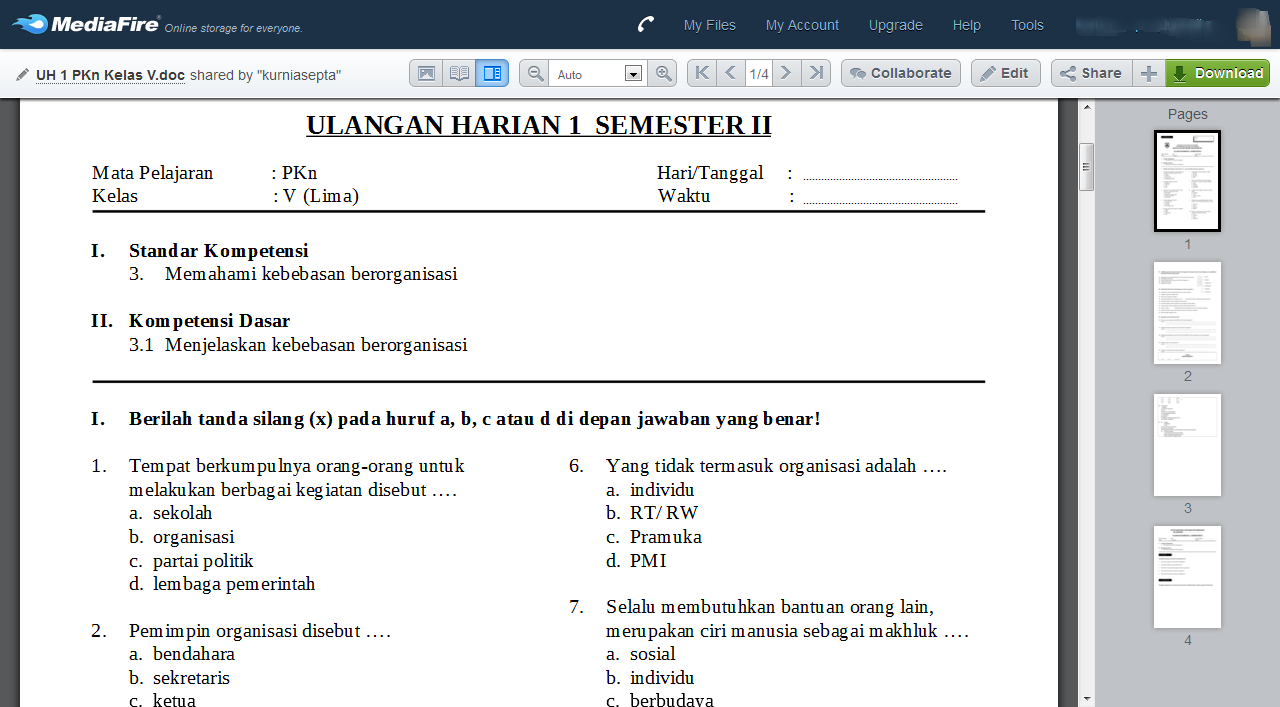 Download Kumpulan Soal Pkn Kelas 5 Semester 2 Sekolahdasar Net