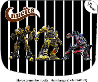 Etiqueta Nucita de Transformers para imprimir gratis.