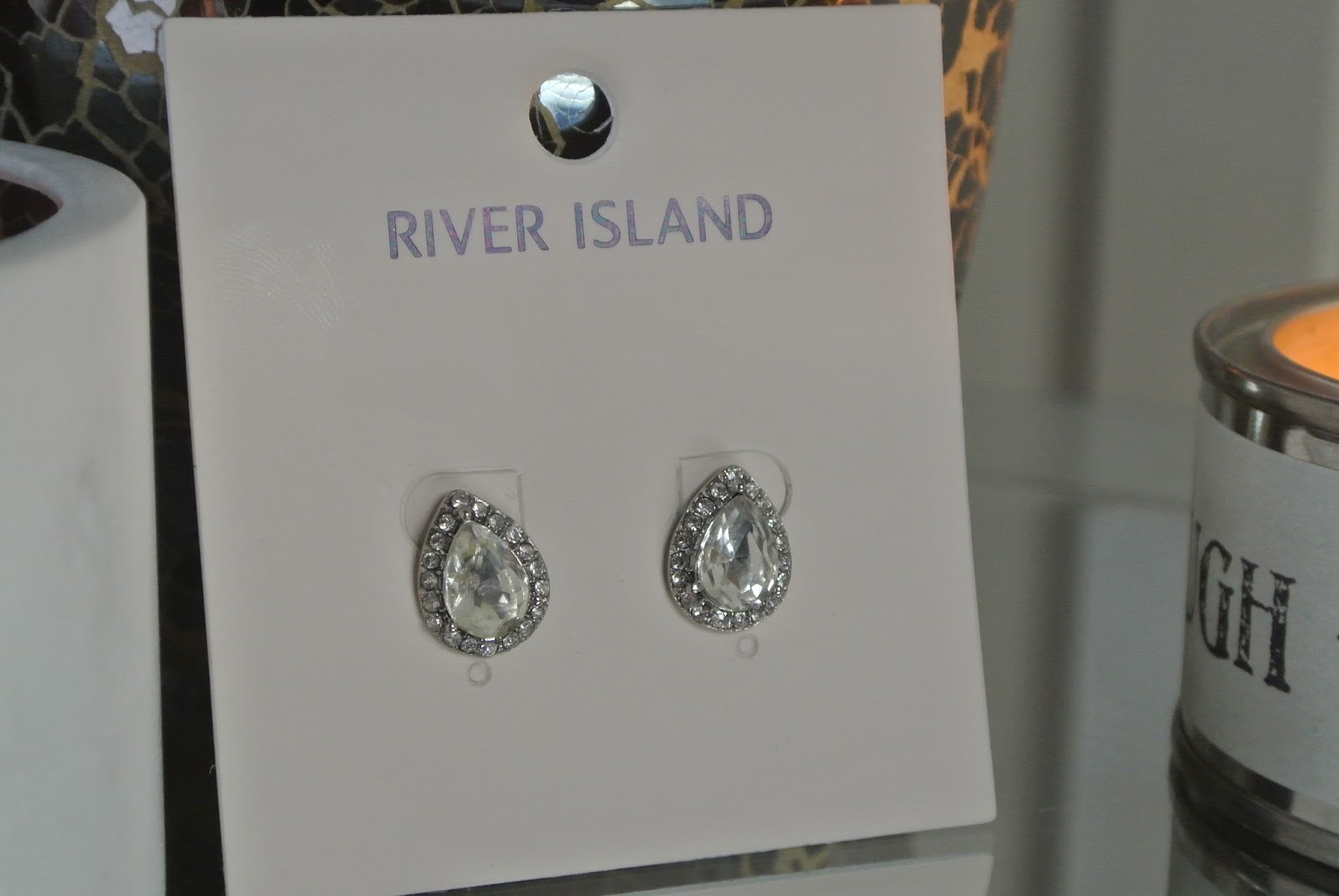 River Island Silver Tone Crystal Stud Earrings Katie Price Style Image