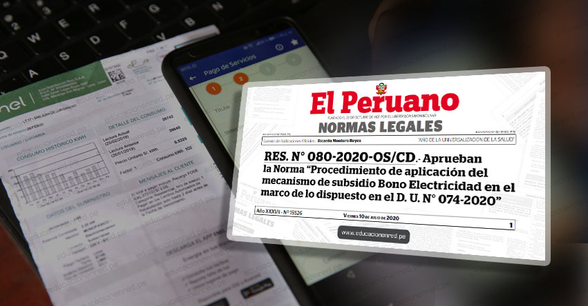 YA ES OFICIAL: Aprueban procedimiento para implementar beneficio «Bono Electricidad» de S/ 160 (RES. N° 080-2020-OS/CD)
